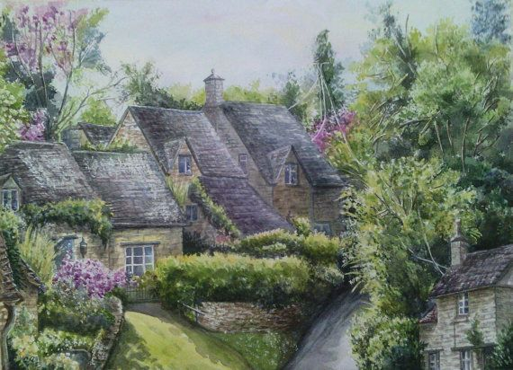 Village Bibury Watercolor Painting Country Landscape Trees Classic English Cottage Garden Countryside