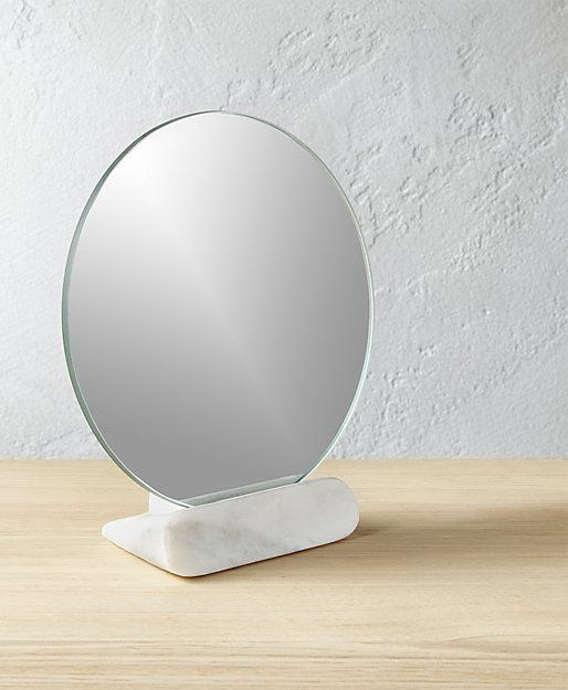 Vanity Plate Small Round Mirror Rests In Minimalist White Marble Base A Thing Of Beauty On A Vanity Or In A Pow Modern Mirror Wall Mirror Small Round Mirrors