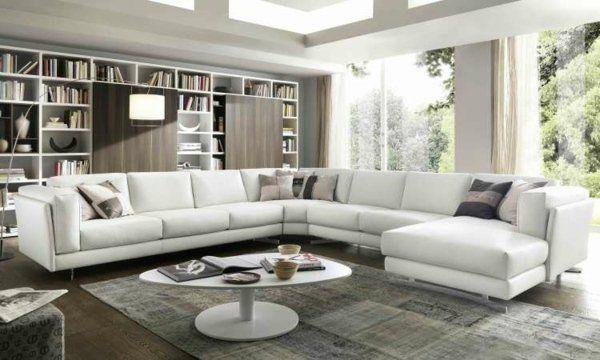 grand-canapé-angle-blanc-bibliothèque-moderne | Salon moderne ...