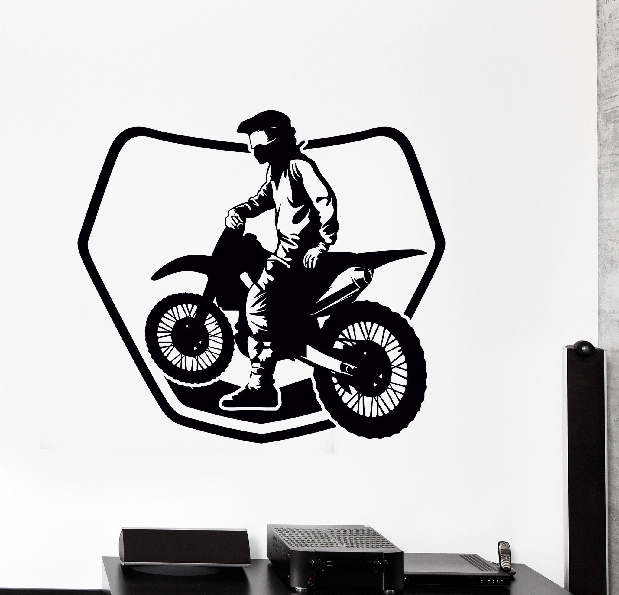 Wall sticker bike biker drive speed race track motorcycle vinyl decal unique gift ed529