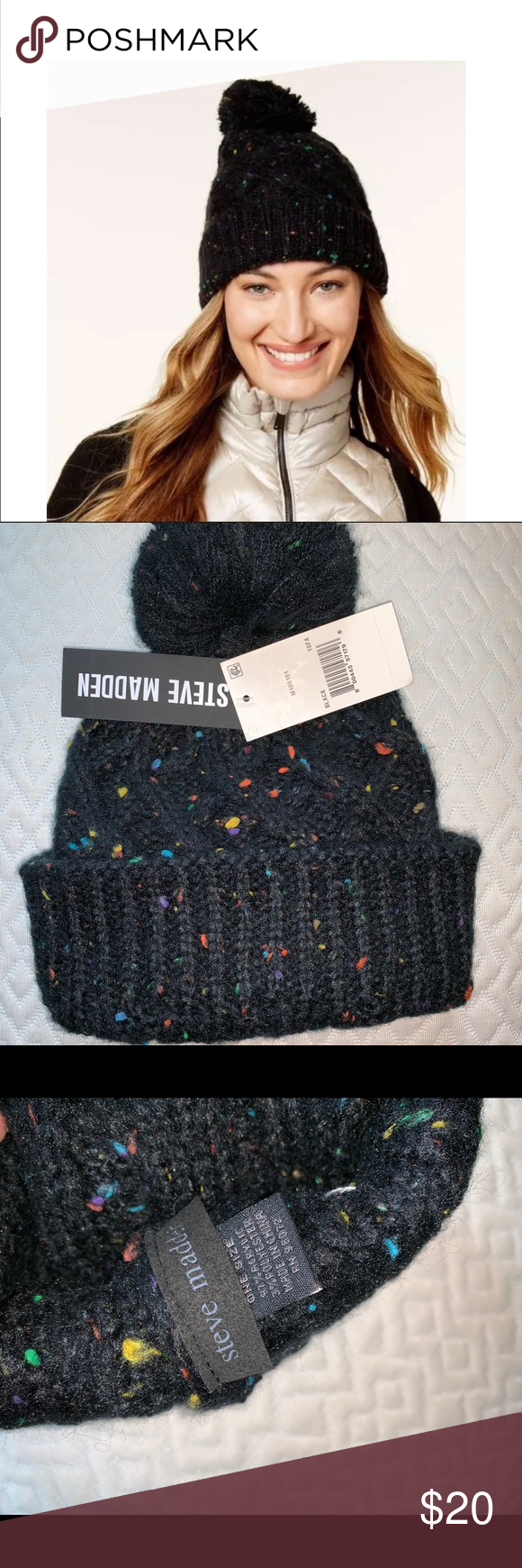 a6809cbd9c92f Steven Madden Speckle Pom Pom Beanie New w  Tags Steven Madden Cable Knit  Speckle Black blue pink green Beanie Fun flecks of color speckle a Steve  Madden ...