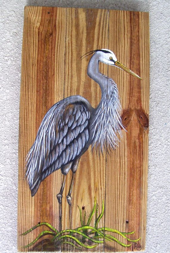 Great Blue Heron hand painted on reclaimed fence boards looks great when displayed in any tropical decor. This rustic painting also looks great on a