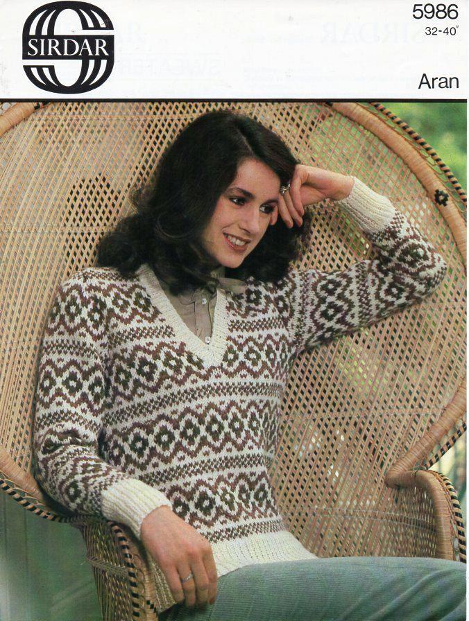 vintage womens fair isle sweater knitting pattern pdf ladies ...