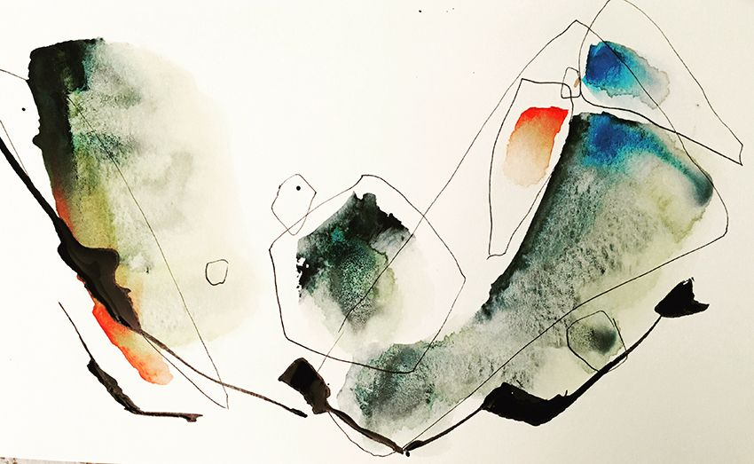 Josee Prudhomme Voler Aquarelle Et Encre Watercolor Ink