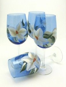 Cobalt magnolia wine glass set
