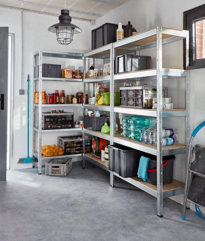 Reorganisez Les Rangements Dans Votre Cellier Votre Garage Ou Votre Cave Avec Ces Etageres En Acier Gal Rangement Cave Rangement Garde Manger Meuble Buanderie