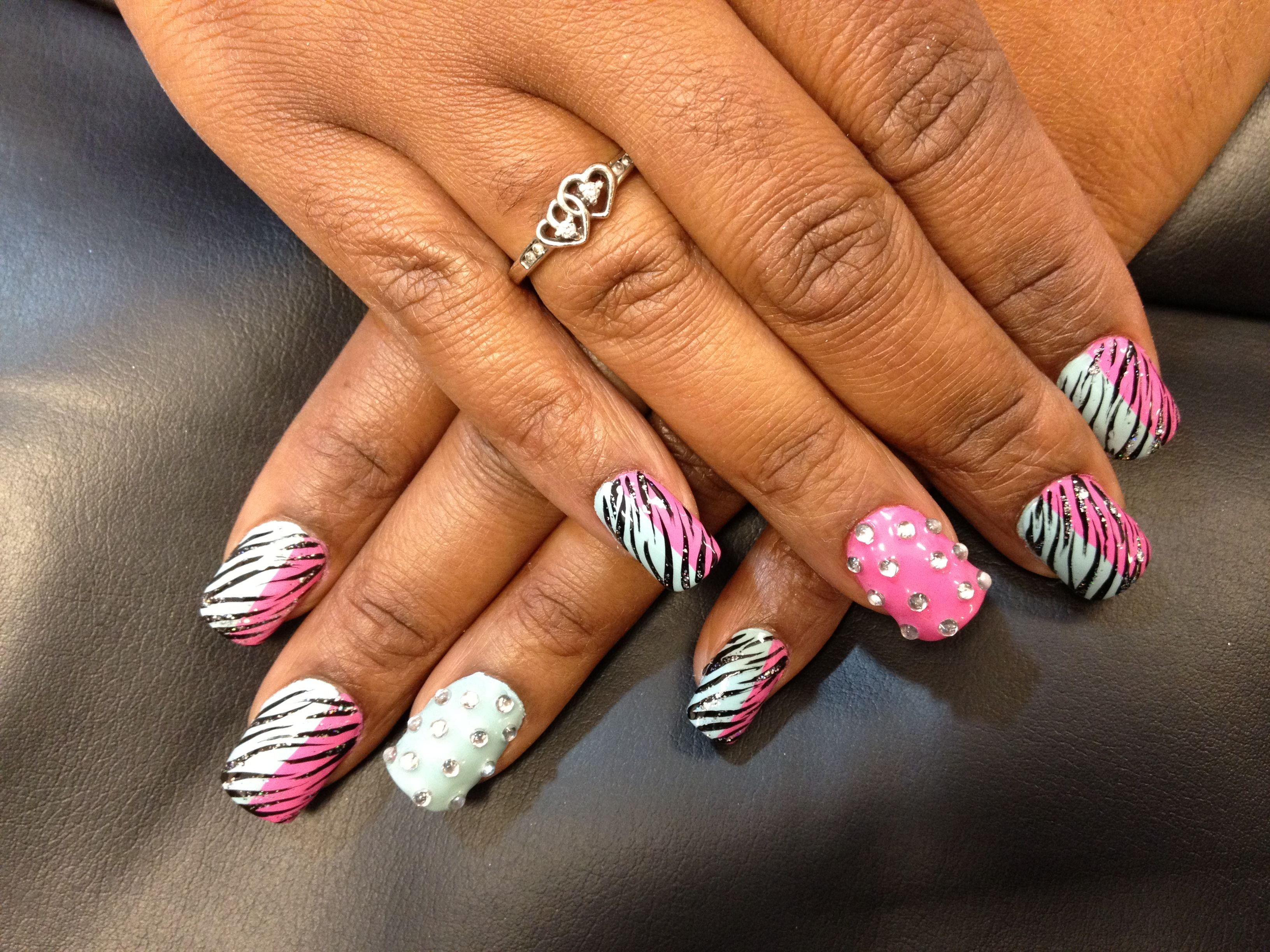 Nails art#Zebra design#Cool nail art @ Ocean Nails and Spa.FWB, Fl ...