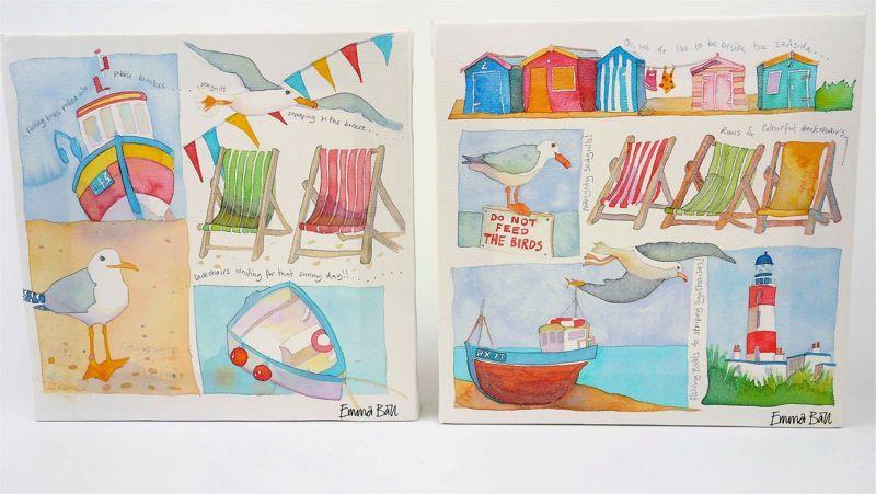 """2 EMMA BALL seaside Nautical Box CANVAS Frame PRINTS Beach Huts Deck Chairs 8"""""""