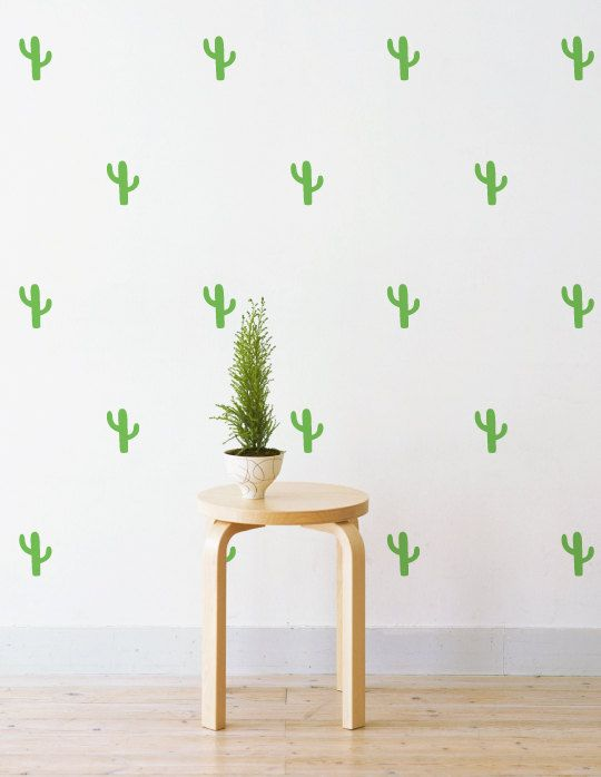 Cactus Wall Patterns Removable Wall Decal u0026 by LittleStickerBoy  sc 1 st  Pinterest & Mini Cactus | Removable Wall Decal u0026 Sticker for Home Office ...