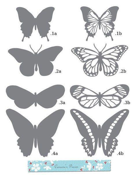 Plantilla para hacer mariposas de papel siluetas - Como hacer mariposas de papel para decorar paredes ...