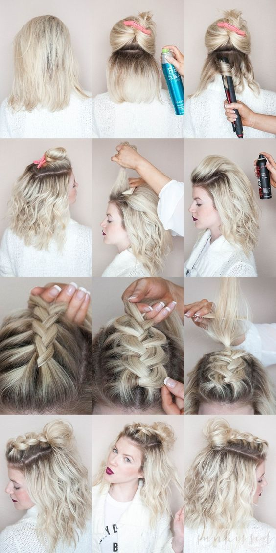 20 Easy Holiday Hairstyles For Medium To Long Length Hair Hair Styles Short Hair Styles Braids For Short Hair