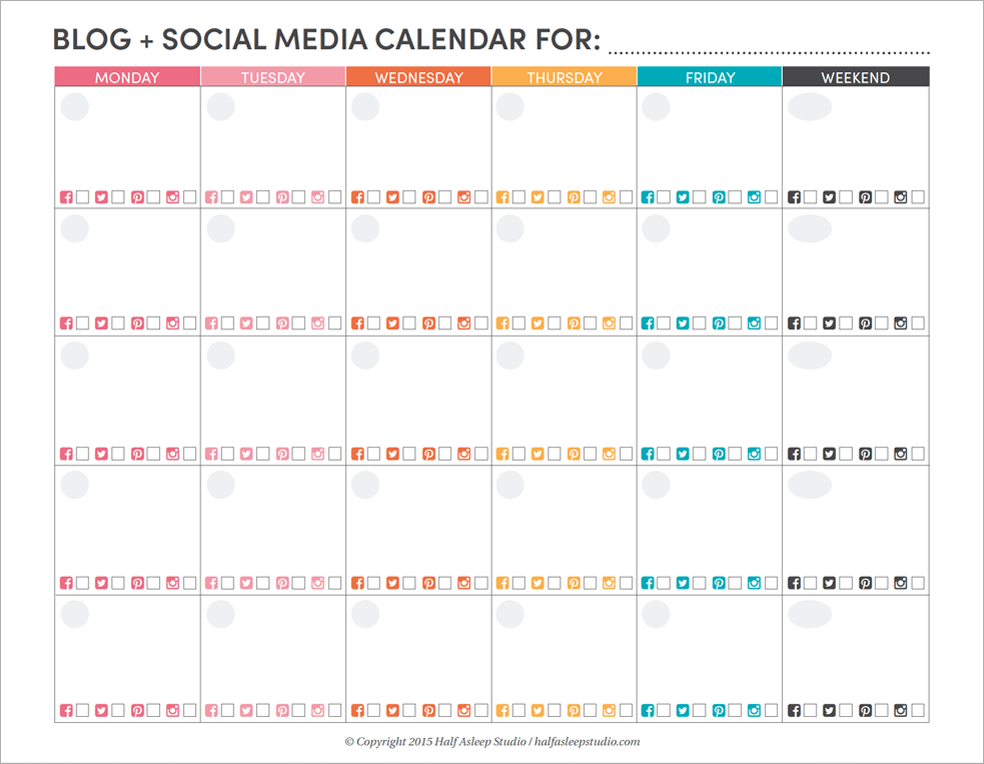 Blog Social Media Editorial Calendar Printable Half