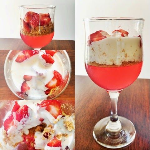 Gelatina, fresas y mascarpone