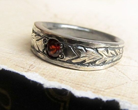 Items Similar To Hand Engraved Garnet Ring Men S Celtic Wedding Band Uni Sterling Silver Rustic Leaf Pattern Genuine Gemstone On Etsy