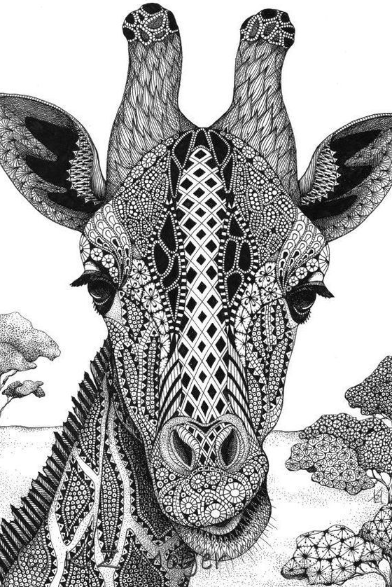Giraffe Coloring Pages In 2020 Zentangle Drawings Doodle Art Drawing Giraffe Coloring Pages
