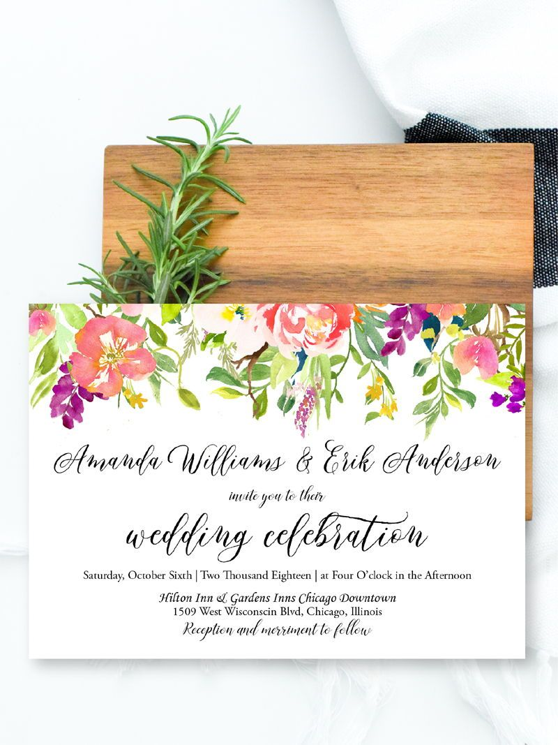 Watercolor Floral Wedding Invites Template, Digital Printable ...