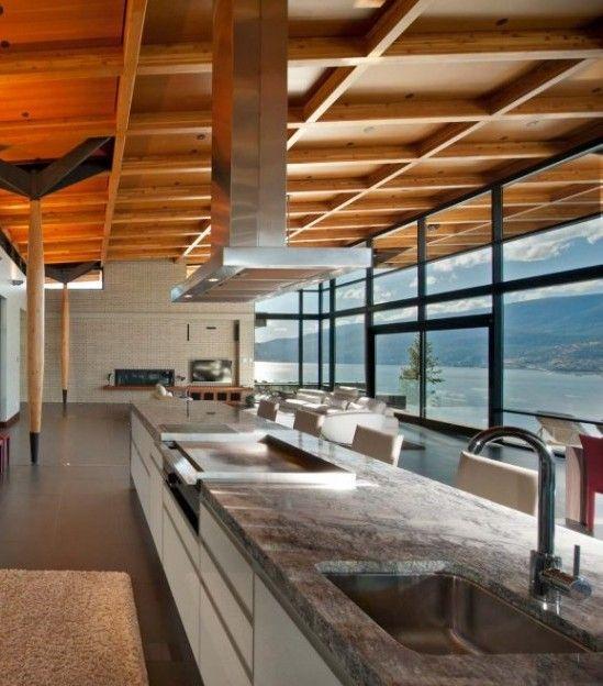 Zeitgenössische Küche mit Marmor-Arbeitsplatte Architecture