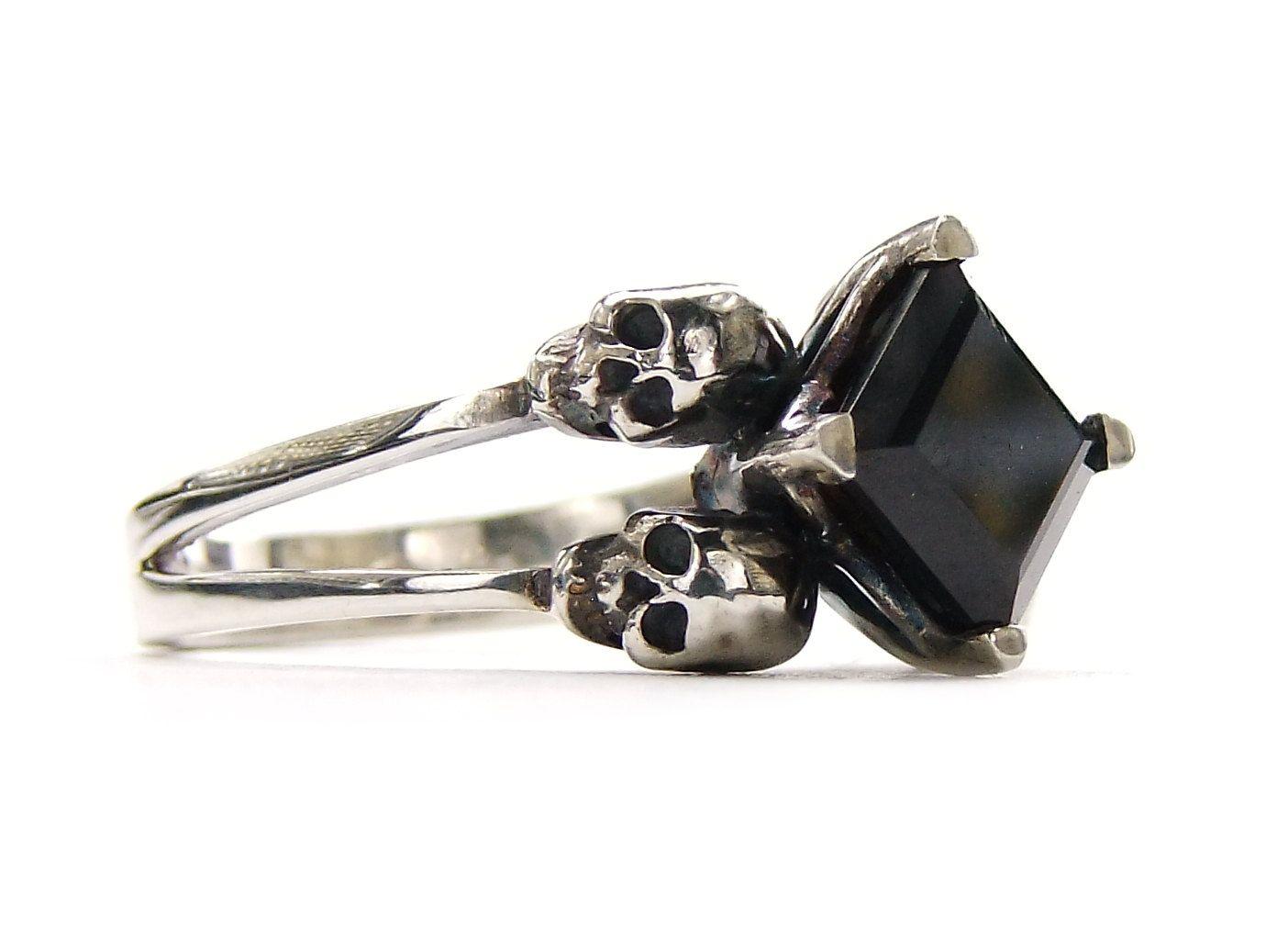 skull wedding ring square black spinel memento mori sterling jewel