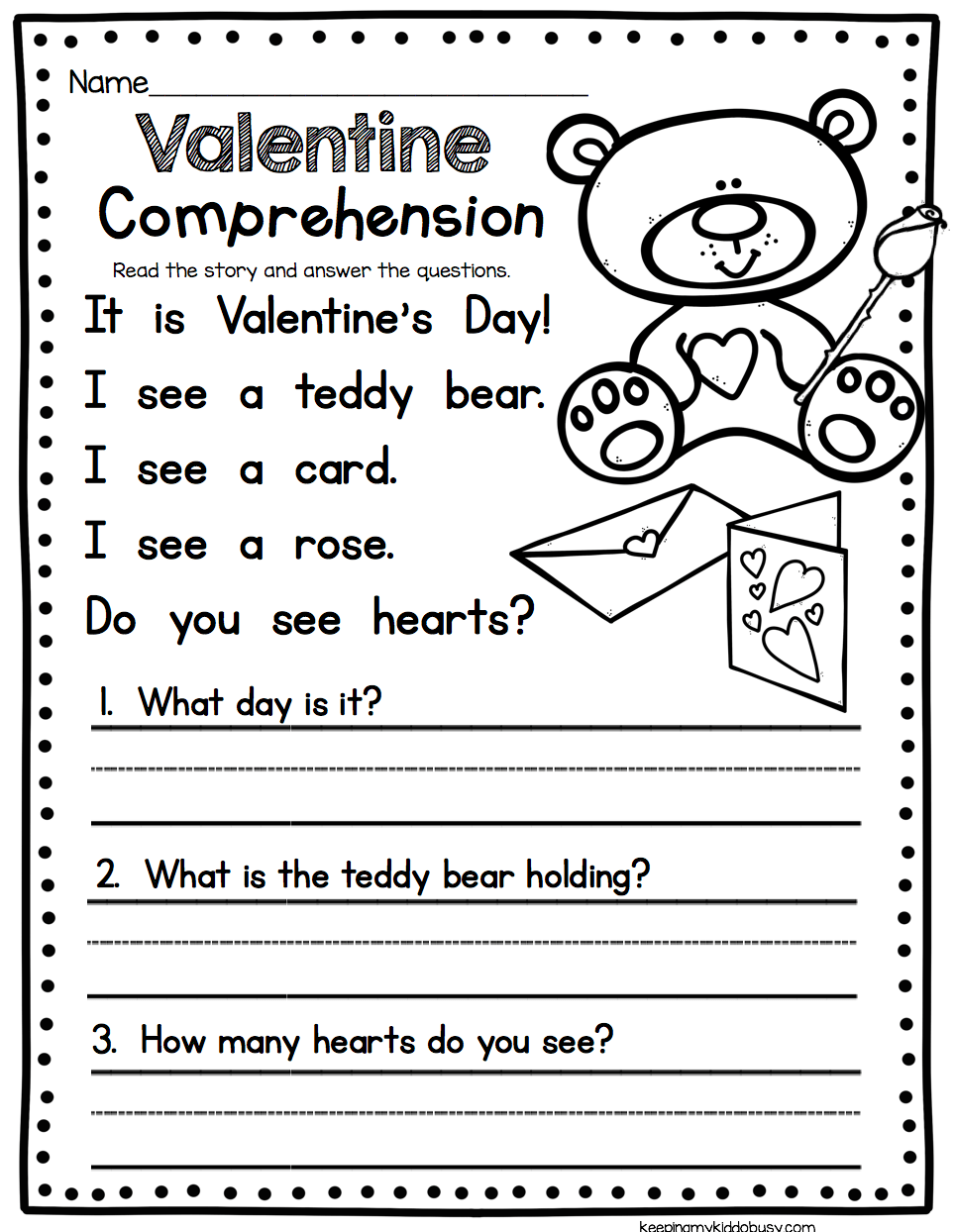 Valentine S Day Comprehension Worksheet Easy Reading Activity For Kindergarten Or Fi Reading Comprehension Worksheets Reading Worksheets Valentine Worksheets
