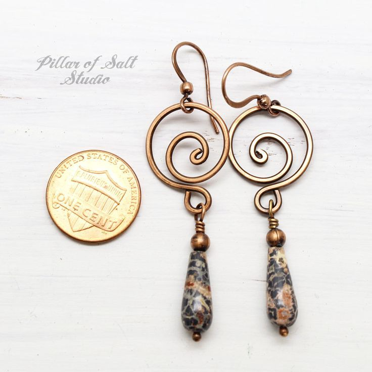 Leopardskin Jasper Copper Spiral Earrings is part of Beaded earrings, Wire jewelry, Earring patterns, Earrings handmade, Metal jewelry, Spiral earrings - Shop handcrafted artisan jewelry with an earthy boho vibe  Unique wire wrapped pendants, earrings, & rings by artist Sara Lott  Free shipping over $35!