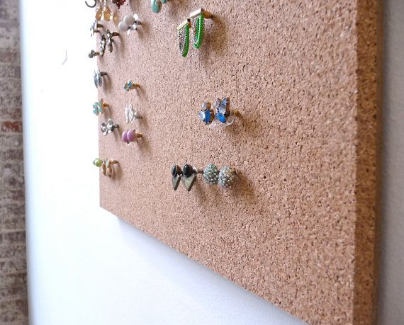 Simple Clean And Highly Functional Earring Storage Solution Made With Extra Thick Cork To Allow For Earrings Be Pushed In Without Removing The