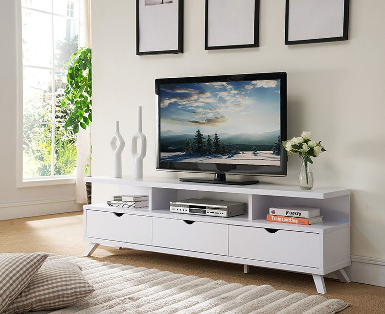 Romina White Wood Tv Stand W 3 Drawers 3 Shelves By Id Usa White Tv Stands Living Room Tv Stand Wooden Tv Stands