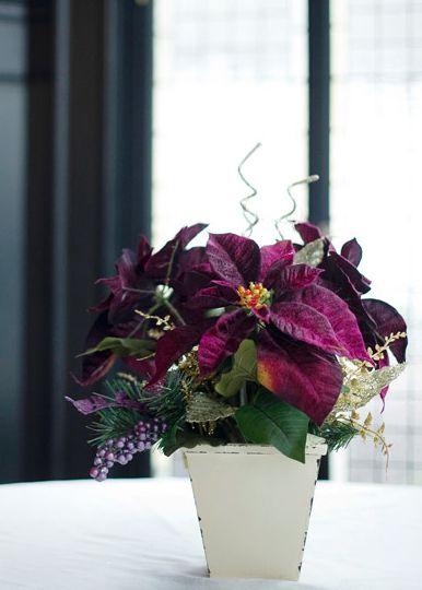 Purple Poinsettia Centerpiece Winter Wedding Centerpieces