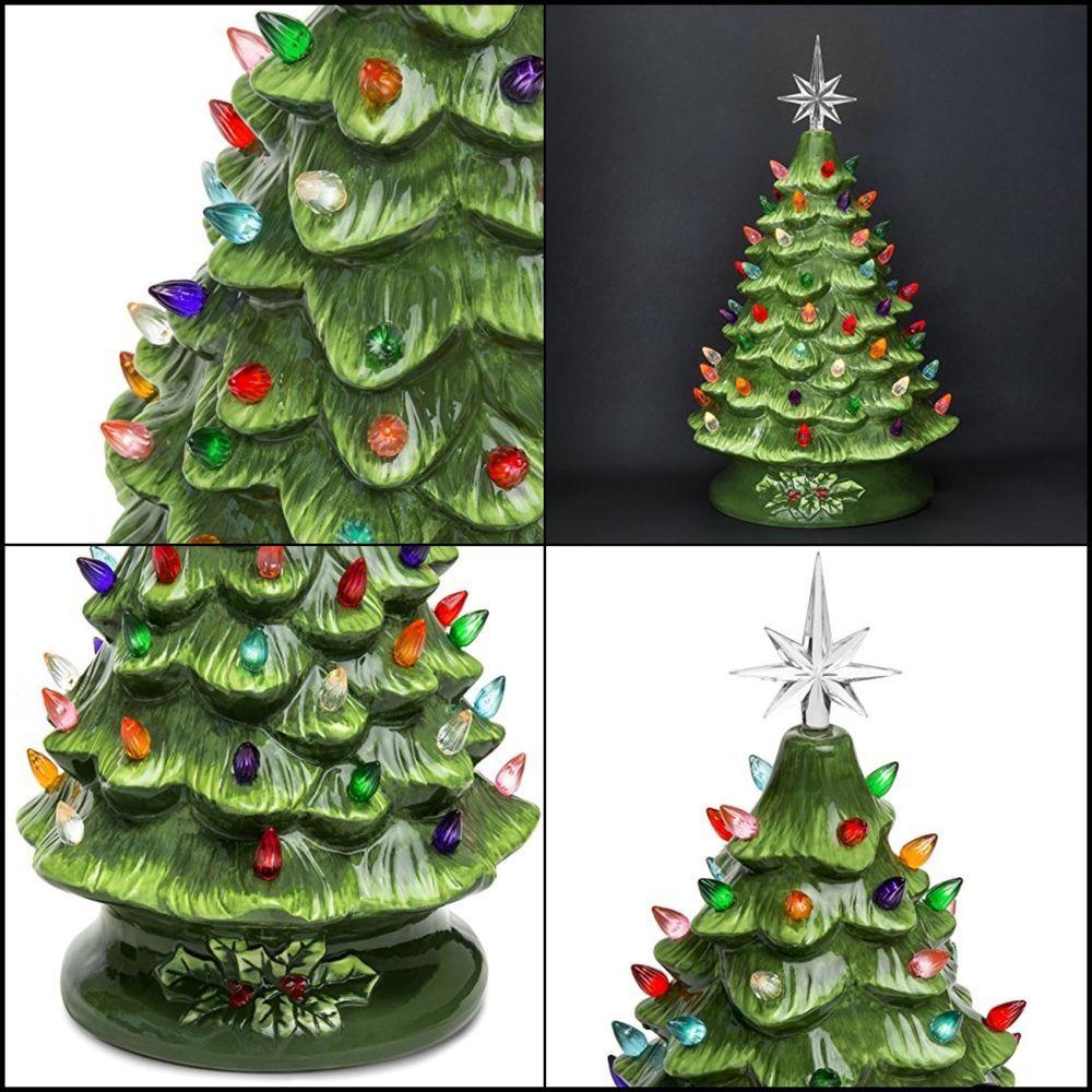 """15"""" Ceramic Body Prelit Ceramic Tabletop Christmas Tree W ..."""