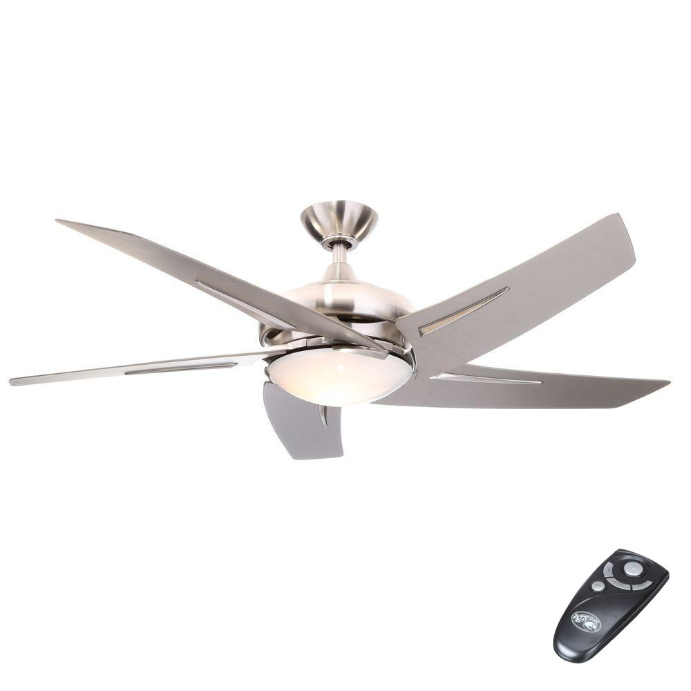 Hampton Bay Sidewinder 54 In Indoor Brushed Nickel Ceiling Fan With Light Kit And Remote Control Brushed Nickel Ceiling Fan Ceiling Fan Ceiling Fan With Light
