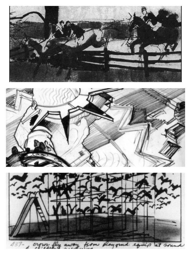 Alfred Hitchcock\u0027s film storyboards (top to bottom) Marnie (1964