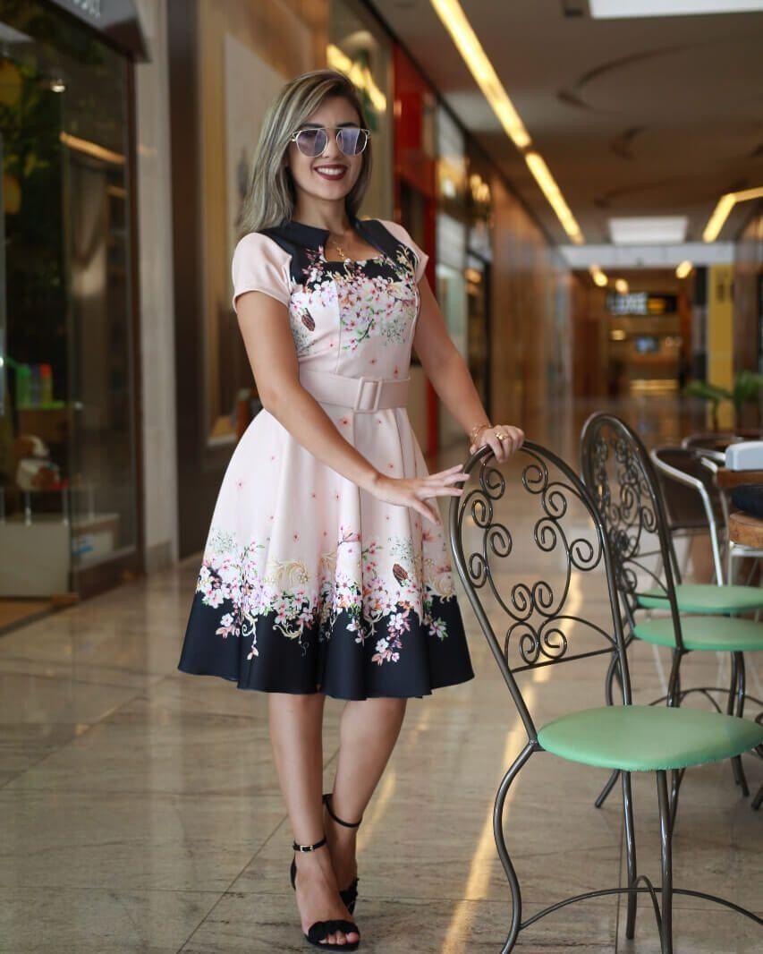 28805ba496a36b Vestido Midi Luna Floral com Cinto em 2019 | Dresses and skirts ...