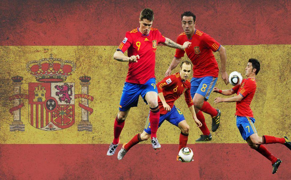 Spain National Football Team And Flag Image