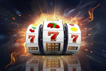 Illustration, Casino element isolation of the slot machine with the lucky jackpot isolation over fire effect and abstract background. , #sponsored, #isolation, #slot, #machine, #Illustration, #Casino #Ad #slot_machine#slots#jackpot,