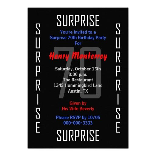Surprise 70th Birthday Party Invitation - 70 Personalized Invites