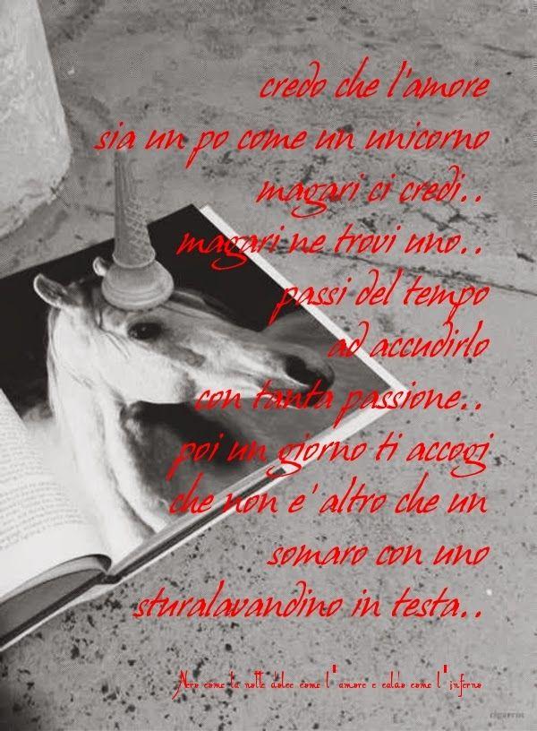 Nero come la notte dolce come l'amore caldo come l'inferno: Credo che l'amore sia un po come un unicorno, magari ci credi.. magari ne trovi uno, passi del tempo ad accudirlo con tanta passione, poi un giorno ti accorgi che non è altro che un somaro con uno sturalavandini in testa. (cit.) #magariungiorno