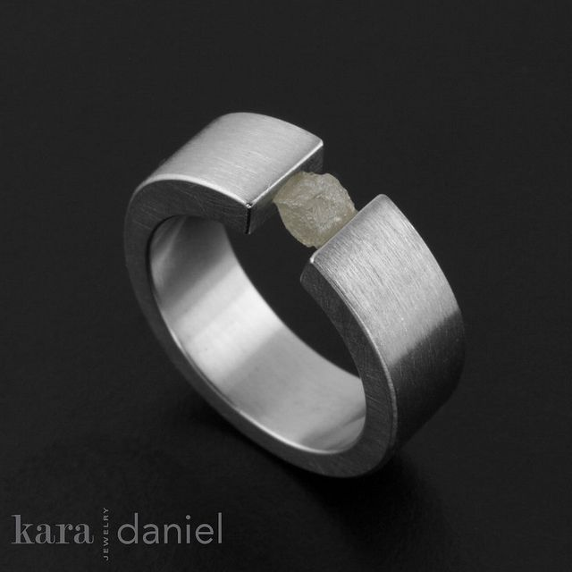 white raw diamond ring ~ tension-set in stainless by kara | daniel, via Flickr