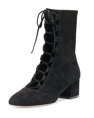 Gianvito Rossi Delia Suede Lace-Up Ankle Boot #ad #ankleboots #fashion