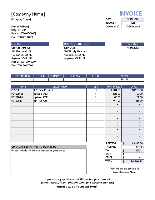 Ms Excel Invoice. Template ...