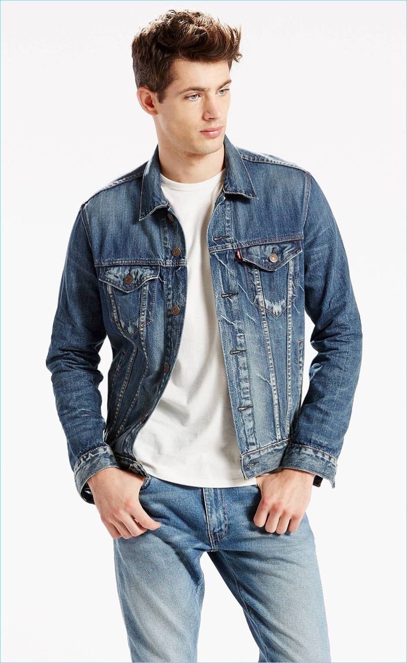 Fashionisto Essential Levi S Trucker Denim Jacket Denim Outfit Men Denim Jacket Men Mens Outfits [ 1303 x 800 Pixel ]