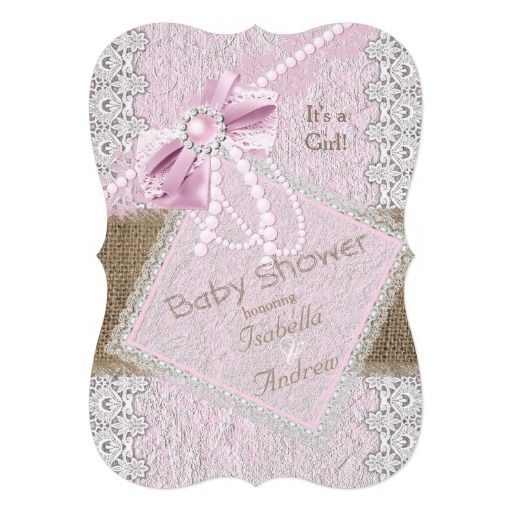 "Girl Baby Shower Rustic Pink Bow Pearl Lace 2 5"" X 7"" Invitation Card"