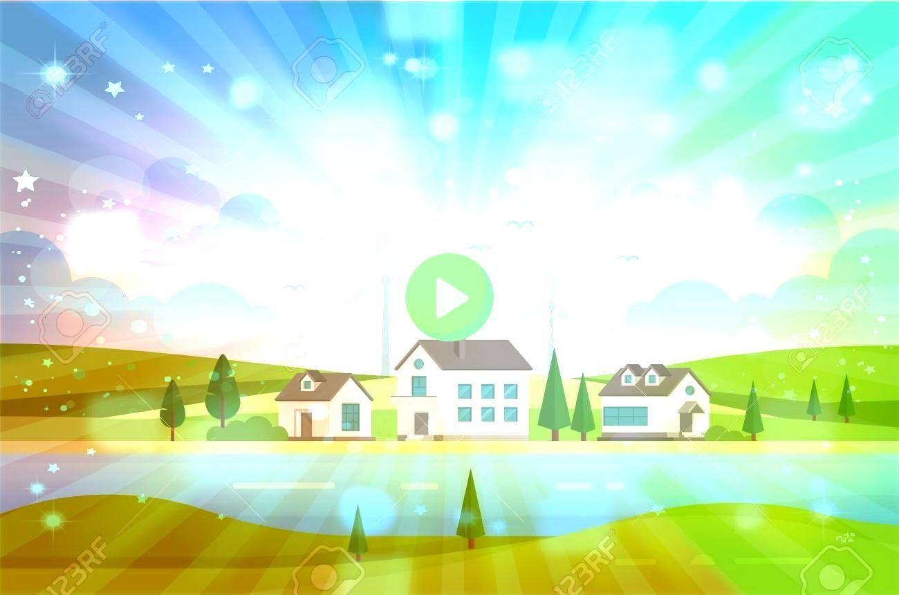 estate with windmills by the river  modern vector illustration Housing estate with windmills by the river  modern vector illustration  Panorama with castle Cartoon and ve...