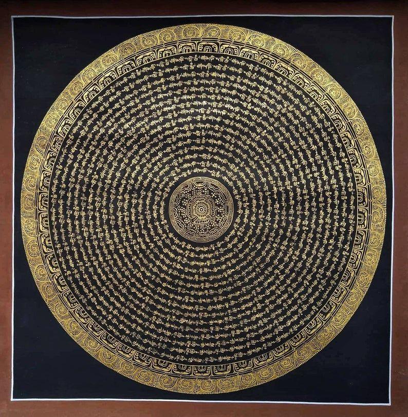 Mantra Om Mani Mandala 24k Gold Tibetan Art Hand Painted