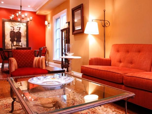 Living Room With Red And Gold Walls Hgtv Living Room Colors