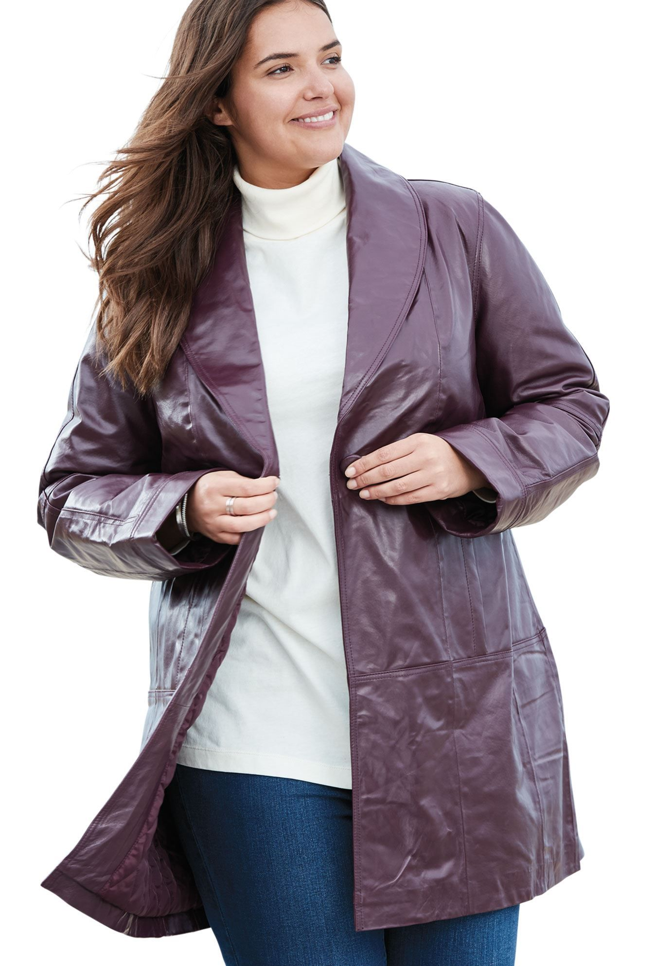 Coat, swing style in leather Women's Plus Size Clothing