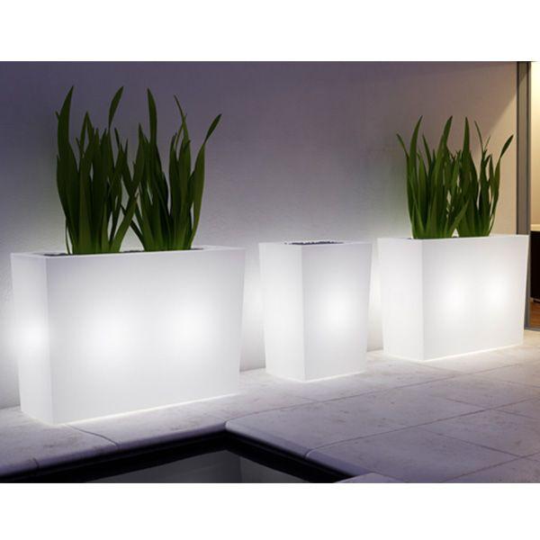 cache pot lumineux blanc vase with