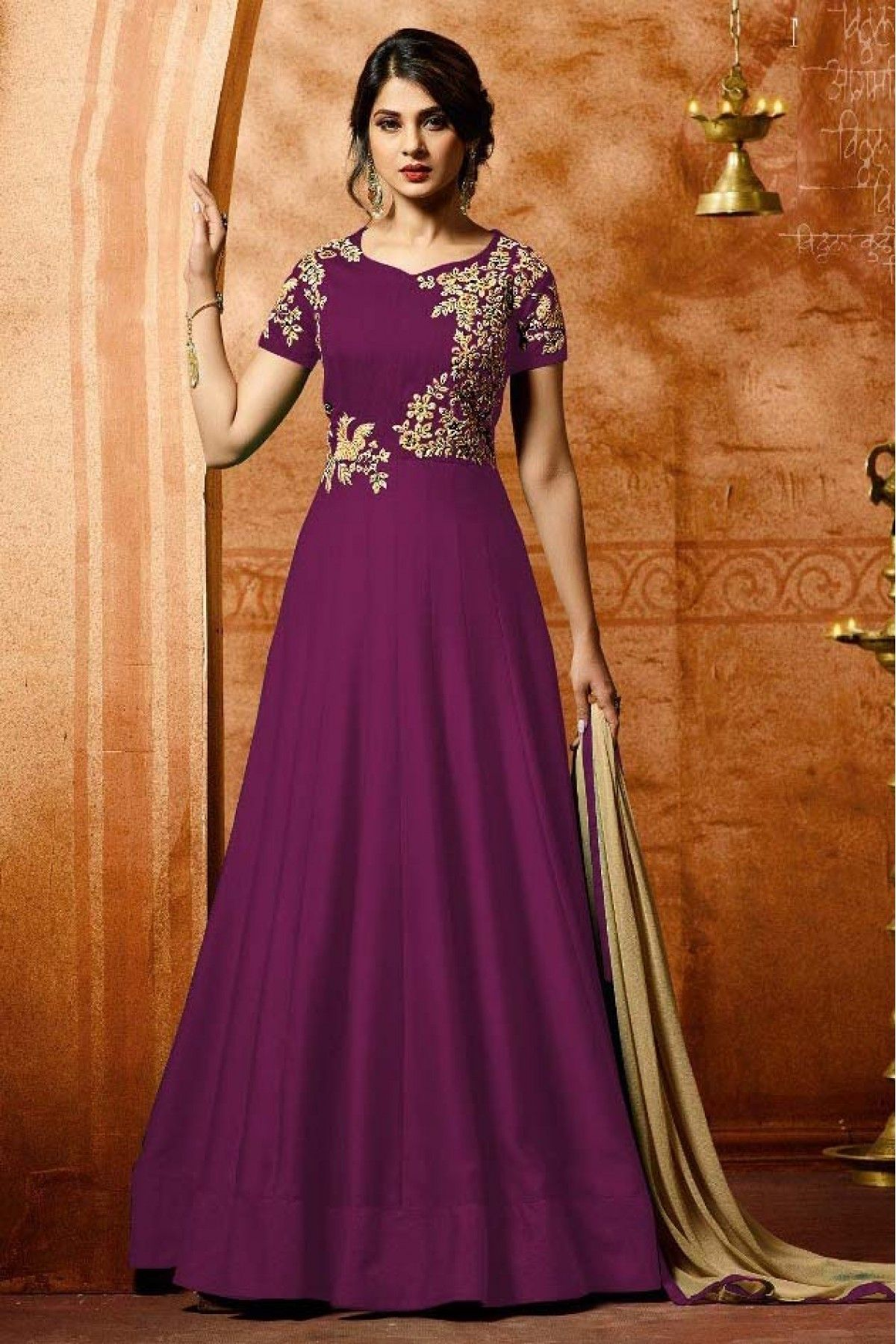 ae790db8cc Buy Jennifer Winget Faux Georgette Anarkali Suit In Purple Colour for women  @ ninecolours.com. Worldwide Free Shipping Available!