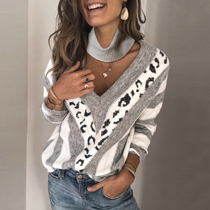 Casual V Neck Printed Color Women's Sweater (Extra