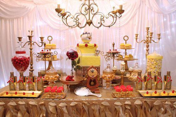 mesa dulce bella y bestia mesas dulces para cumpleaos infantiles
