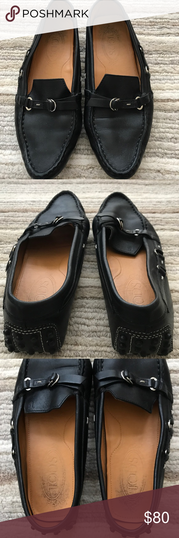Tod's Loafer Used condition - lots of life left! Pictures show wear on insole and on bottom soles, otherwise in great condition.  100% authentic - no box, but Tod's duster bag included with purchase. From a pet & smoke free home. Tod's Shoes Flats & Loafers
