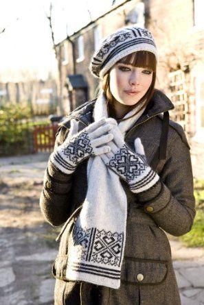 ef749370f6f895 Ladies Angora Wool Mix Fairisle Style Fashion Warm Winter Hat Scarf Glove  Set: Amazon.co.uk: Clothing